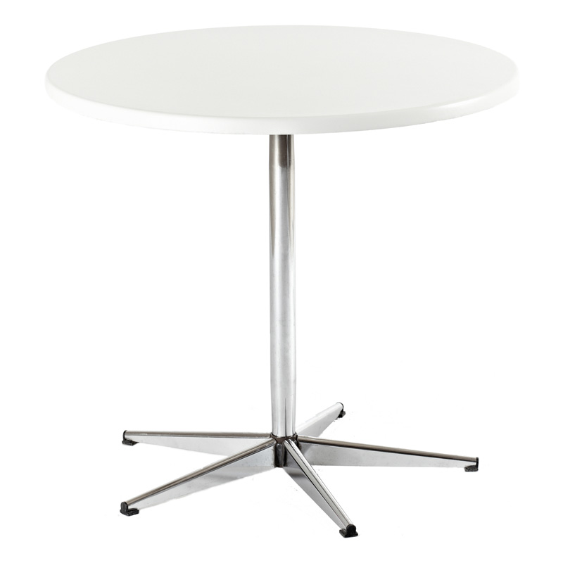 Udlejning af cafébord ø 80 cm. højde 75 cm.   hvid